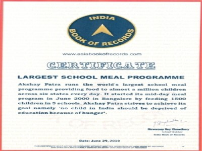 Akshaya Patra enters the India Book of Records