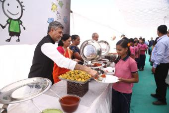 Hot nutritious food served to the children